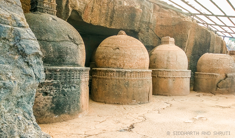The 14 stupas at Bhaja Caves in Lonavala