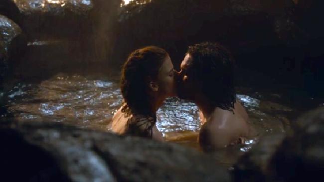 Jon Snow and Ygritte at Grjotagja